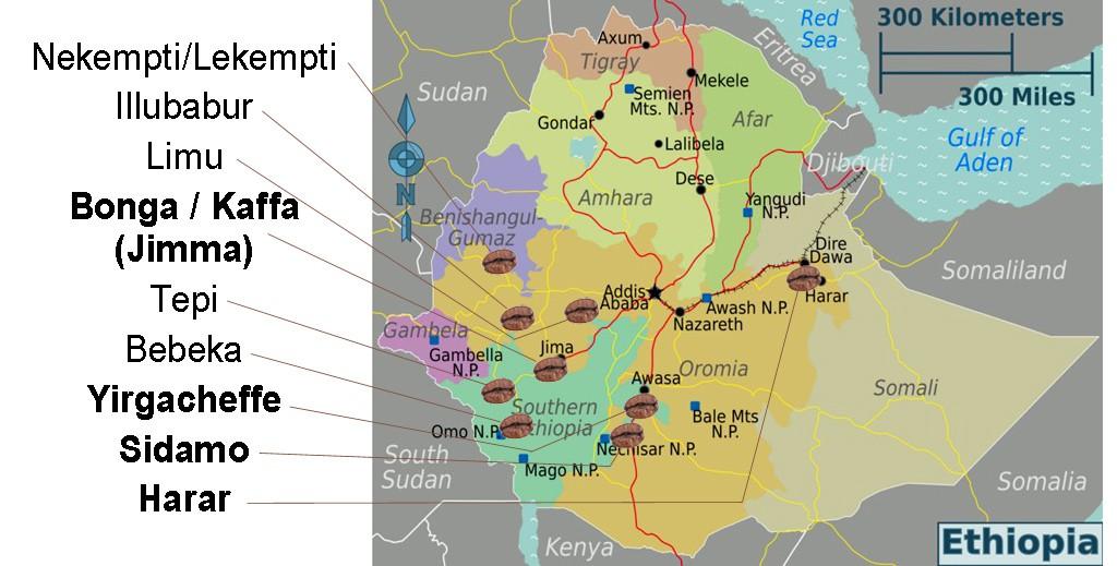 """Kartenbasis mit """"CC-Lizenz Namensnennung-Weitergabe unter gleichen Bedingungen"""" von http://www.weltkarte.com/afrika/aethiopien/karte-regionen-aethiopien.htm. Veränderungen: Angabe der Kaffeeanbauregionen"""